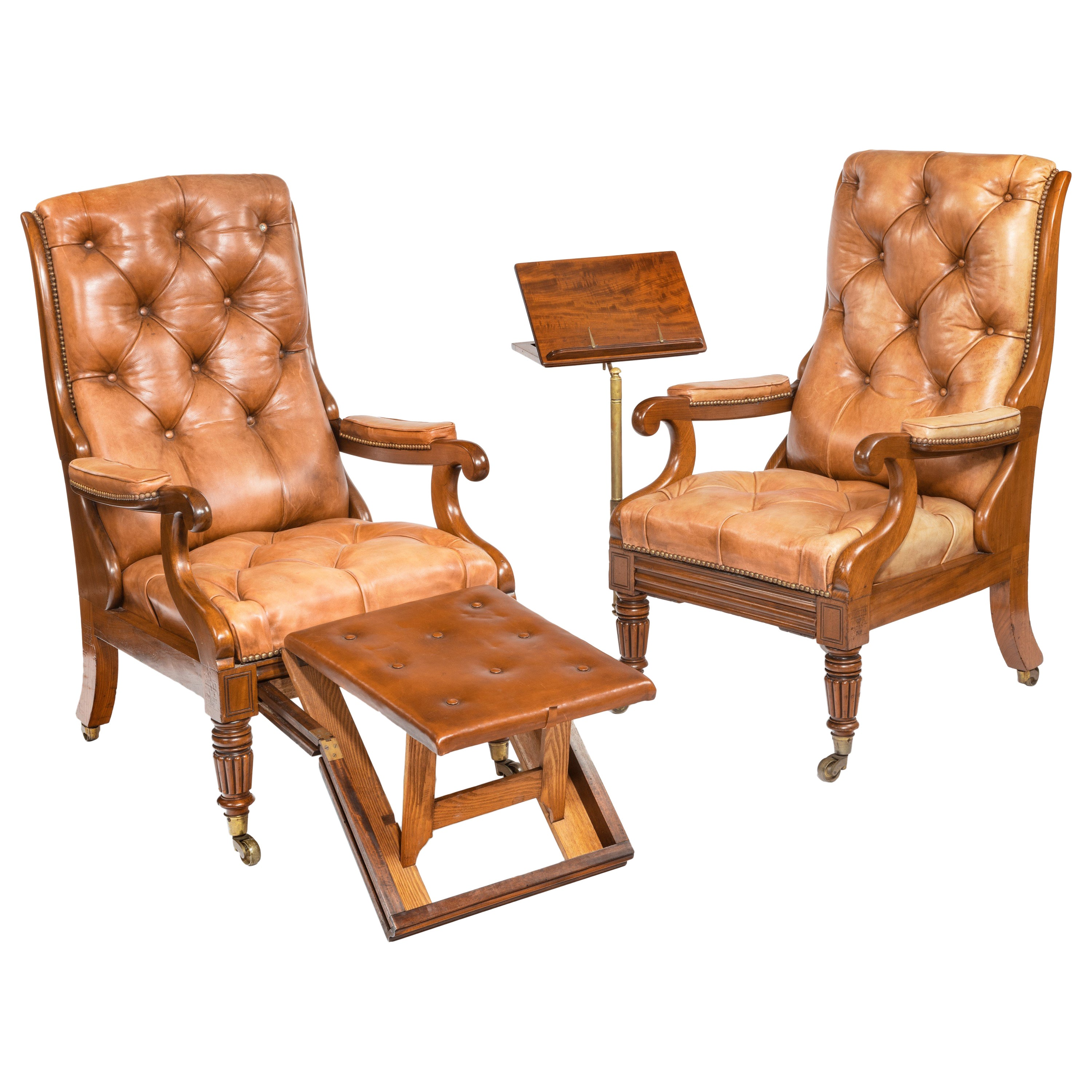 Pair of William iv Adjustable Mahogany Library Armchairs, by George Minter