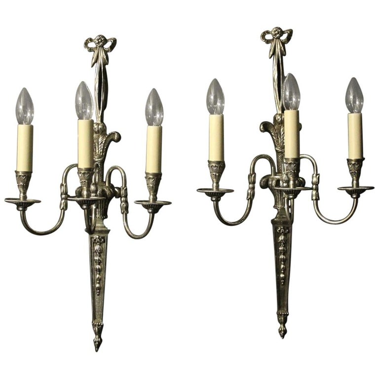 French Pair of Silver Plated Triple Arm Wall Lights