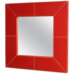 20th Century Red Italian Faux Leather Design Mirror, 1980
