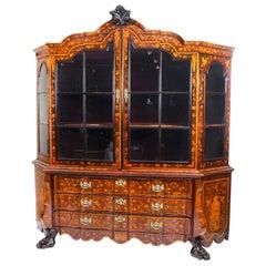 Antique Dutch Marquetry Walnut Display Cabinet Vitrine 19th Centry