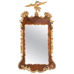 George III Period Mahogany and Parcel Gilt Mirror