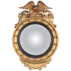 Regency Period Giltwood Convex Wall Mirror