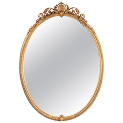Unusually Large 19th Century French Oval Giltwood Mirror