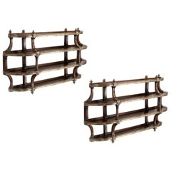 Most Unusual Pair of Four Height Mahogany Wall Shelves