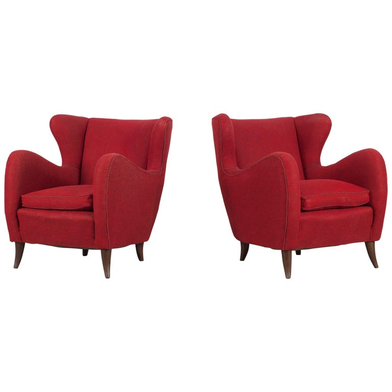 Melchiorre Bega Italian Pair of Armchairs, 1950s For Sale