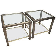 Pair Vintage Brass and Glass Side Tables from Belgo Chrom, 1980s