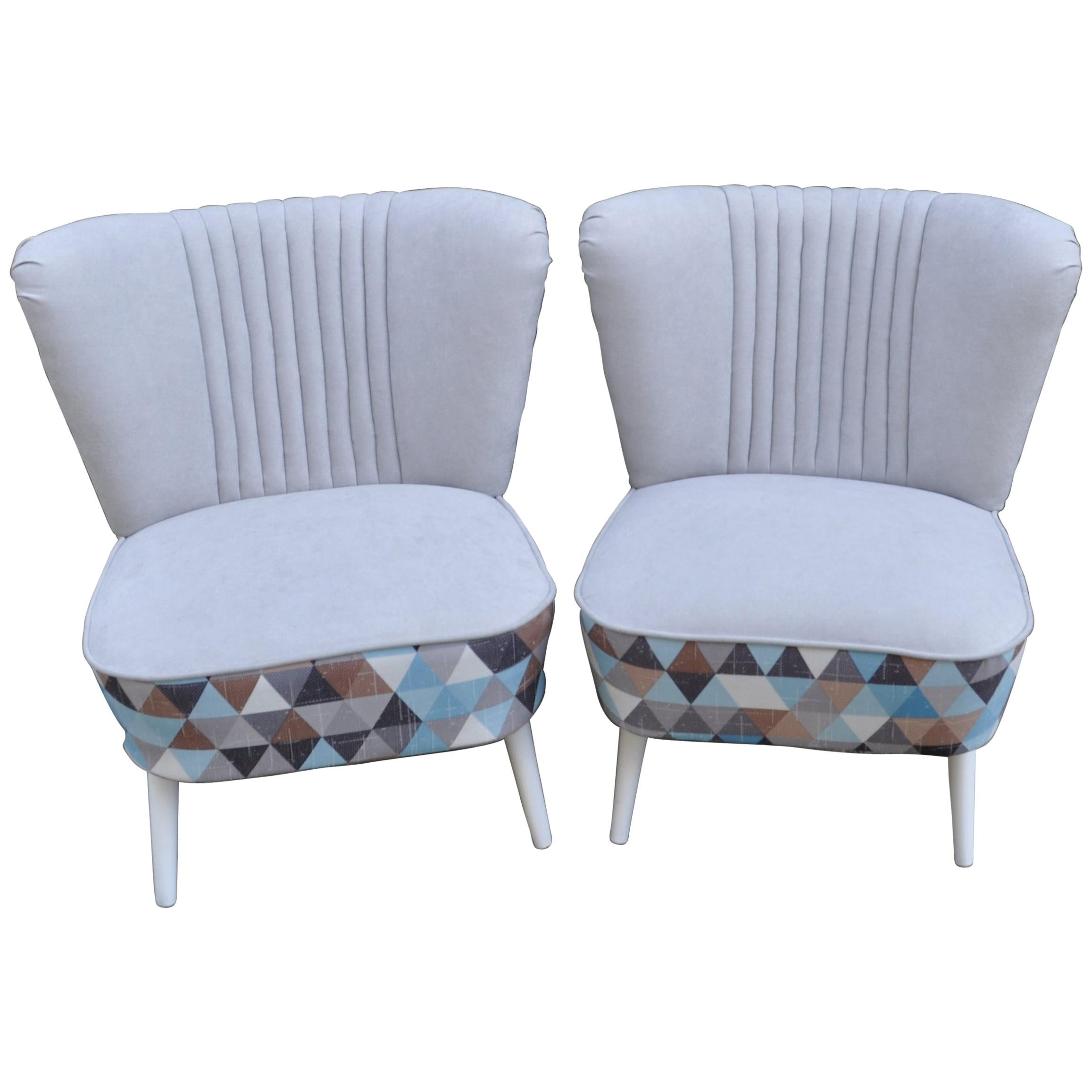 Pair Of Cocktail Chairs Gray And Geometric Shape Fabric