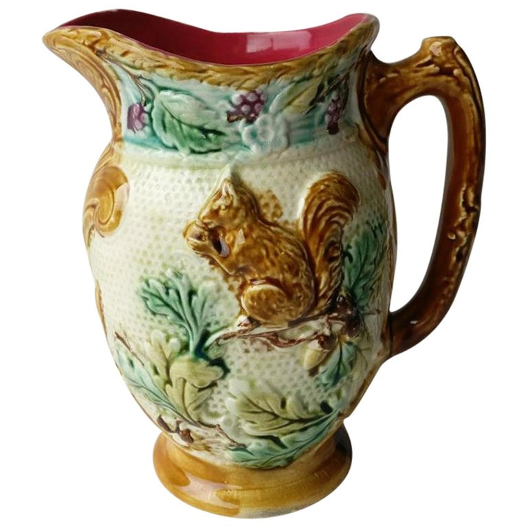 French Majolica Squirrel Pitcher Onnaing, circa 1880