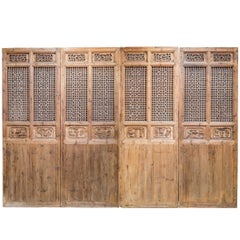 Late 19th Century Door Panels with Carving and Latticework