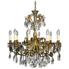 Italian Gilded Bronze & Crystal 10 Light Antique Chandelier