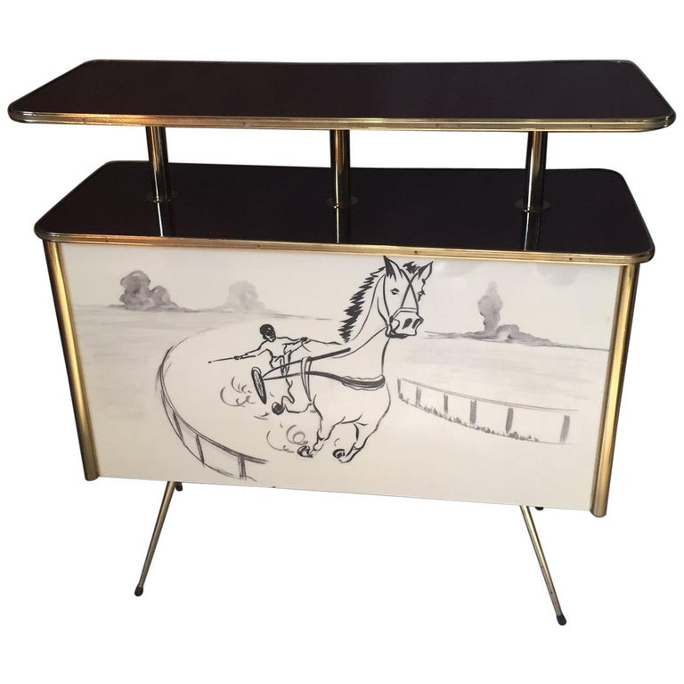 French Late 20th Century Gilted Brass and Formica Bar, 1970s