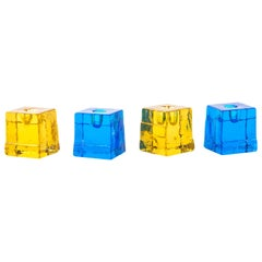Four Candle Sticks by Christer Sjögren for Lindshammer with Art Glass