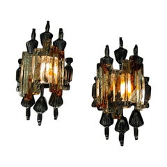 Pair of Norwegian Brutalist Wall Lamps by Steen & Steen 1960s