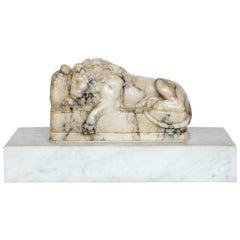19th Century Carved Alabaster Lion
