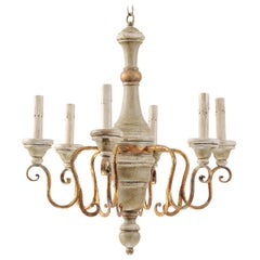French Vintage Six-Light Painted and Turned Wood Chandelier in Soft Grey-Green