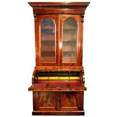 Bureau Bookcase Mid-Size 19th Century Cylinder Top Figured Mahogany Secretaire