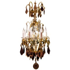 Sign by Cristalleries De Baccarat Gilt-Bronze Cut Crystal Chandelier, circa 1880
