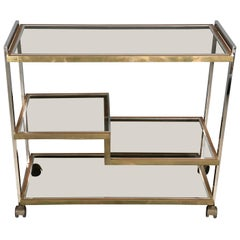 Serving Cart Trolley Chrome and Brass by Serantoni & Arcangeli New Ideas Inox