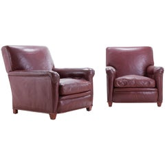 Large Scale Pair of Red Leather Armchairs