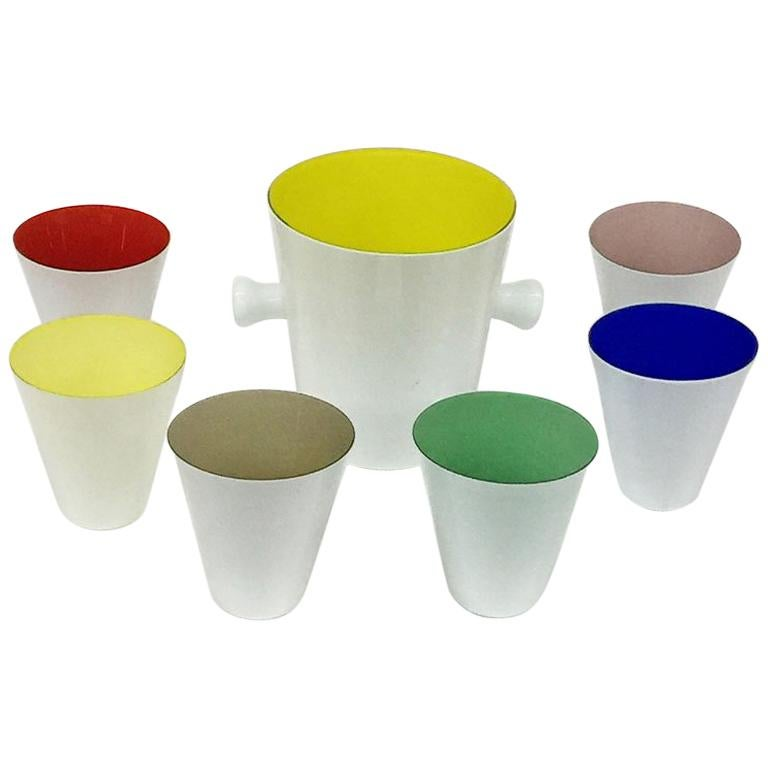 Beautiful Colorful Art Glass Drink Set with Cooler, Carlo Moretti, 1960s