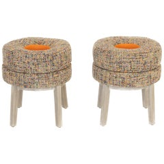Small Round Stools with Tweed Upholstery