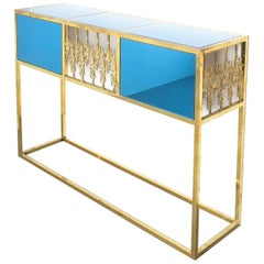 Console Table Brass Blue Glass Mirror, Italy, 1960