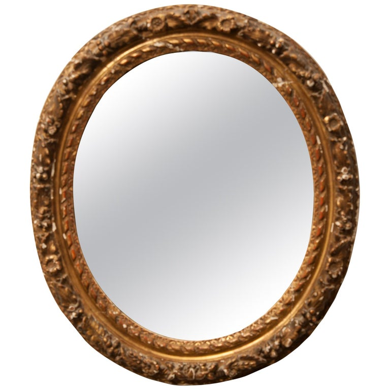 French Louis XVI Period Carved Oval Mirror, Neoclassical Style For Sale
