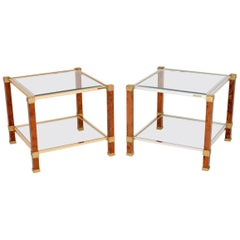 1970s Pair of Vintage French Walnut and Glass Side Tables