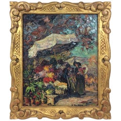 Original Oil on Wood Painting of Nice France's Flower Market Signed P. Forest
