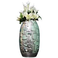 20th Century Italian Engraved Silver Futurist Flower Vase, 1930s