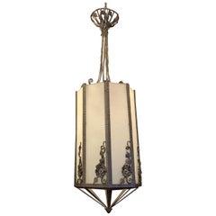 Wonderful Art Deco Edgar Brandt Scroll Flower Iron Frosted Glass Lantern Fixture