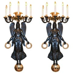 Patinated and Gilt Bronze Victory Sconces