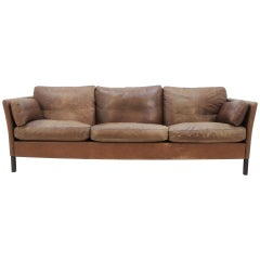 1960s Georg Thams Danish Three Seater Sofa in Brown Leather