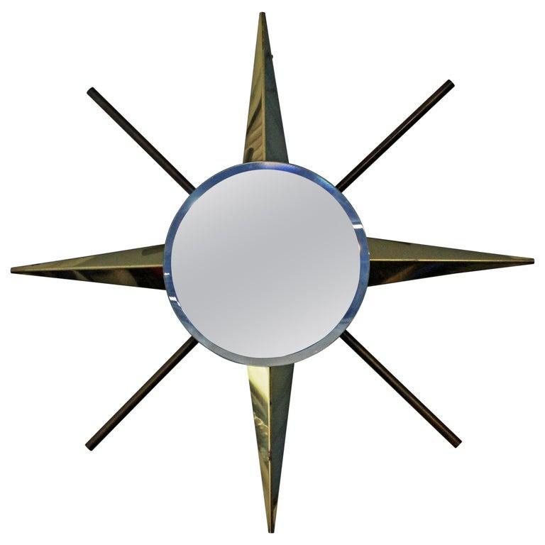 Mid-Century Modern Brass Starburst Wall Mirror