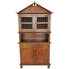 18th Century Baroque Spindle Inlaid Walnut Cabinet