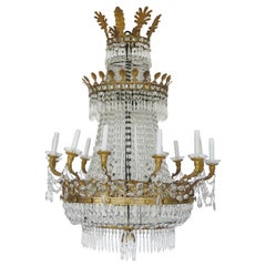 19th Century Empire Baccarat Style Gilt Bronze and Crystal Chandelier, 24 Lights