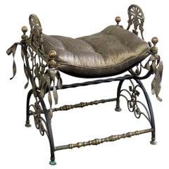 Antique Regency Style Iron Bench