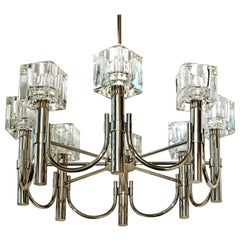 "Modernist Sciolari Chrome Cubist Chandelier with Eight ""Ice Cube"" Glass Shades"
