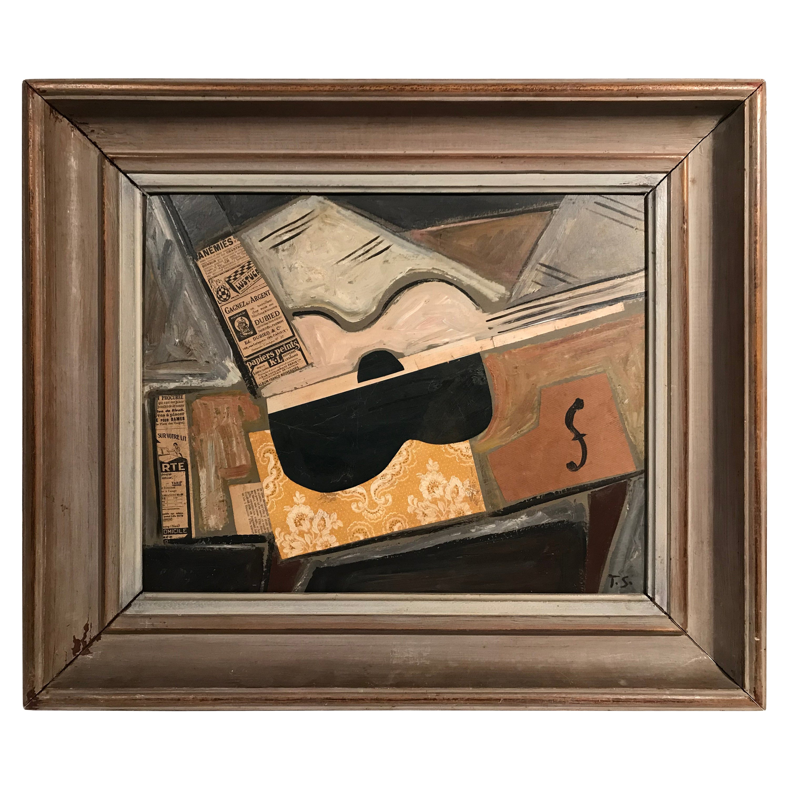 1940s Signed French Collage Cubist Guitar Painting