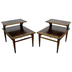 Pair of Mid-Century Modern Andre Bus Lane Acclaim 2-Tier End Tables