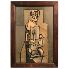Late 1930s Parisian Signed Cubist Self-Portrait Oil Painting