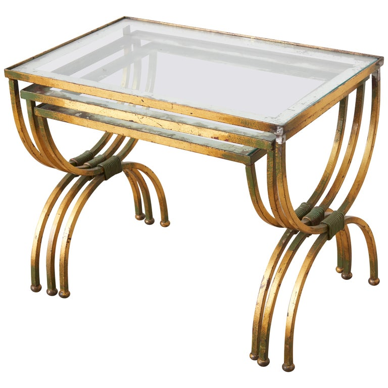 Neoclassical Nesting Tables in Style of Jean Royere,France, 1950s