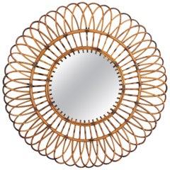 Large Spanish, 1960s Mediterranean Rattan Flower Burst Sunburst Circular Mirror