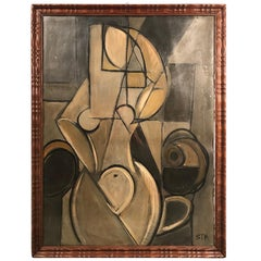 Midcentury Cubist Portrait of Nude Woman Oil on Cardboard Painting