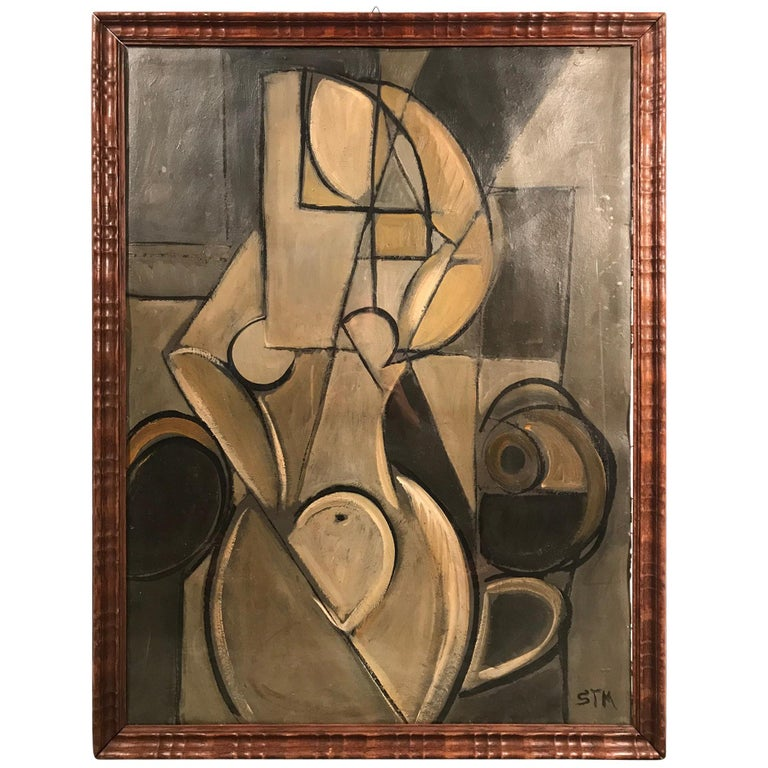 Midcentury Cubist Portrait of Nude Woman Oil on Cardboard Painting For Sale