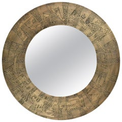 Pandora Acid Etched Patinated Brass with Antique Mirror by Studio Belgali