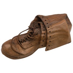 Hand-Carved Realistic Old Wooden Boot, Signed L. de Verdal