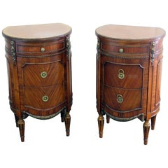 Pair of Sleigh Louis XV Style Inlaid Demilune Side Tables