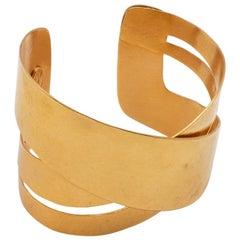 Hervé Van Der Straeten Hammered Gold-Plated Brass Bracelet