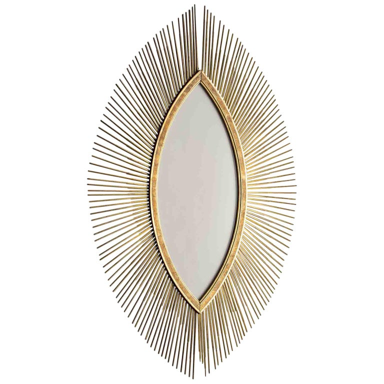 Enormous Italian Art Deco Oval Starburst Sunburst Gilded Frame ...
